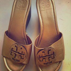 Tory Burch Gold Platform Sandals